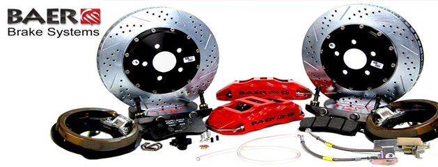 Baer Big Brake Kit with red calipers and drilled rotors