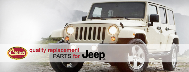 Crown Automotive White Jeep with replacement parts on mountain