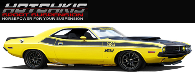 Yellow 1970 Dodge Challenger on Hotchkis Sport Suspension Kit