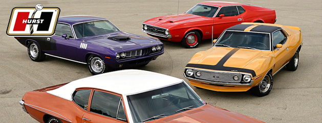 Hrst Classic muscle cars with Hurst shifters and upgrades
