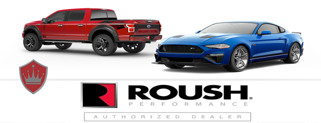 Red Roush F150 and Blue Roush Ford Mustang performance upgrades Crown Auto Parts