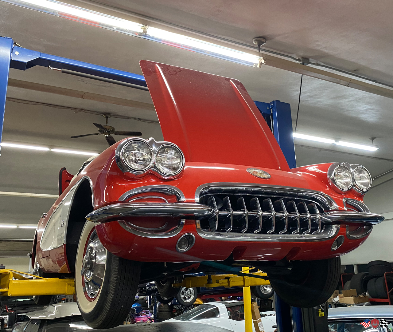 1960 Corvette on the rack at the Crown Auto Parts performance installation facility in St Louis, Missouri