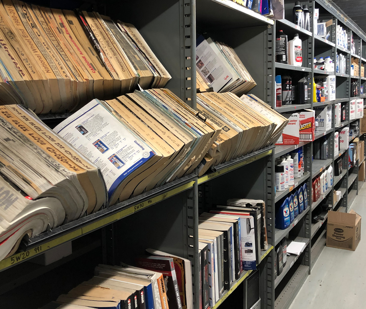 Catalog rack at Crown Auto Parts warehouse 2